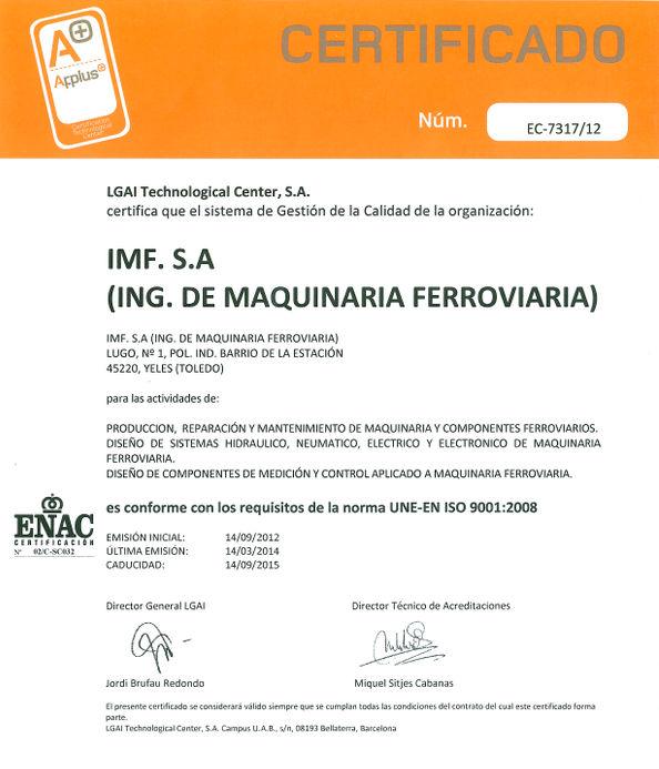 IMF tiene el certificado ISO 9001:2008